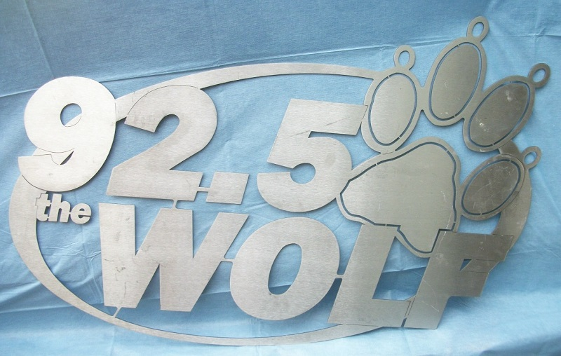 WOLF 92.5 FM Country Radio Logo Sign